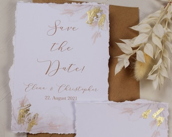 Save the Date Card A6, Gold Decoration