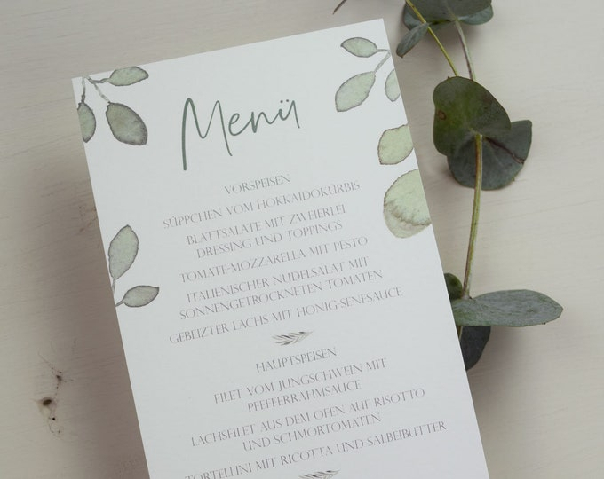 Featured listing image: Menu Card Wedding Motif -Greenery Love-2-