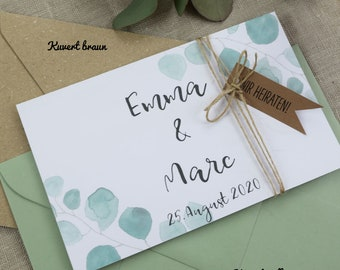 "Wedding invitation A6 ""eucalyptus,"" individual invitation card, wedding card, personalized print"