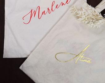 "Personalized bag, jute bag, fabric bag ""name"" printed bag, personalized gift"