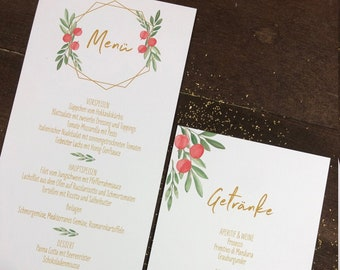 Menu menu wedding motif -festive red berries- wedding menu, wedding menu, vintage wedding, Christmas decoration, winter wedding