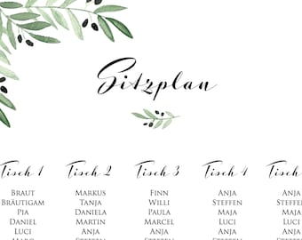 "Table plan ""Mediterranean love"" for the wedding, table softeness for the wedding, placer, individually printed, personalized"