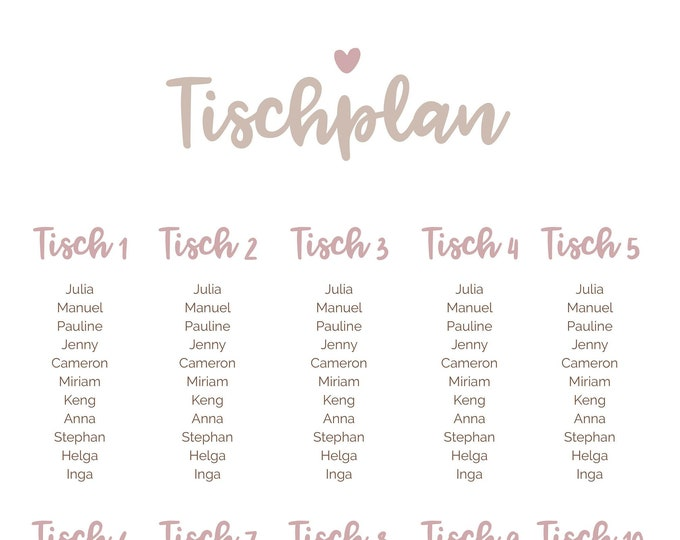 Table plan, course guide for the wedding