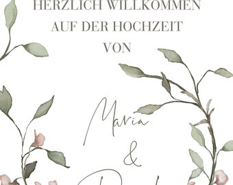 """Welcome poster wedding """"boho love"""" poster to wedding, guestbook"""