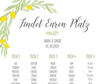 "Table plan ""Citron"", place signforee for the wedding"