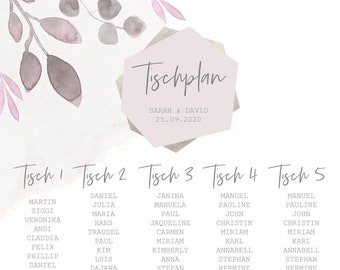 "Table plan ""Blush"""" for the wedding, baptism, birthday"
