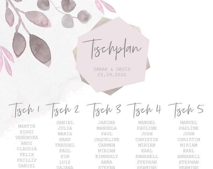 "Table plan ""Blush"""" for the wedding, baptism, birthday"