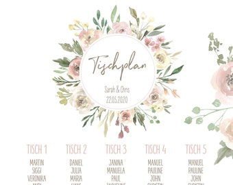 "Table plan ""Watercolor Flower"" for the wedding, Signpost Wedding, Seating Plan"