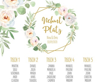 "Table plan ""Geometric-Flower"" for the wedding, signpost wedding, seating plan"