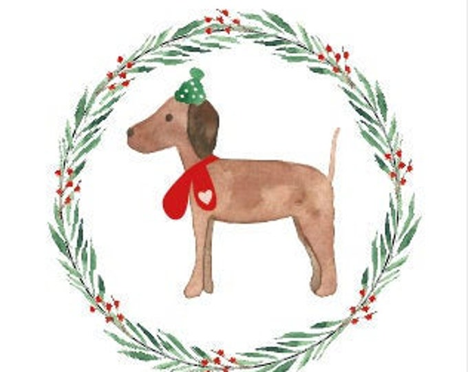 "Pendant, Gift Tag ""Dog in The Snow"" Christmas Gift Pendant, Vizsla"
