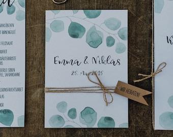 Wedding invitation, eucalyptus, vintage style, wedding invitation card, in-note wedding card