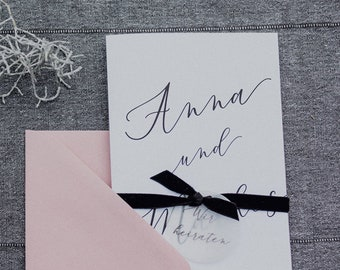 Wedding invitation calligraphy including envelope, personnated invitation card to the wedding, wedding card