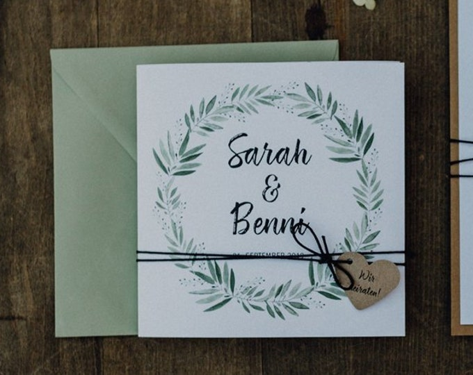 """Wedding invitation """"blossoming love"""" including envelope, wedding card, wedding invitation card, personalised card"""