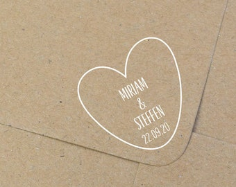 Stamp for the wedding, heart, family stamp, individual stamp, wooden stamp, initalstempel
