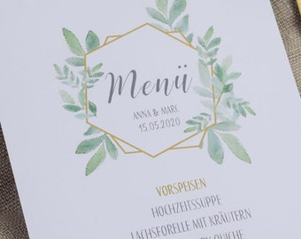 "Menu card ""Boho Green"" for the wedding, birthday"