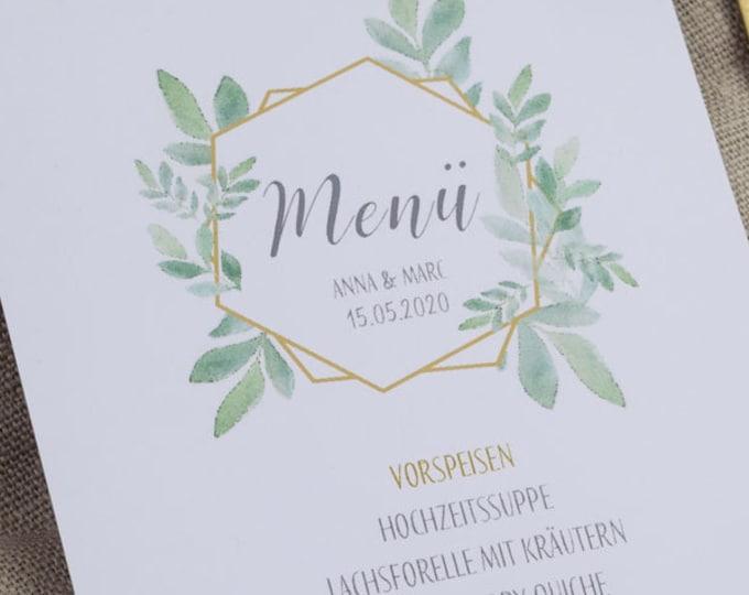 "Menu card ""Boho-Green"" for the wedding, birthday"