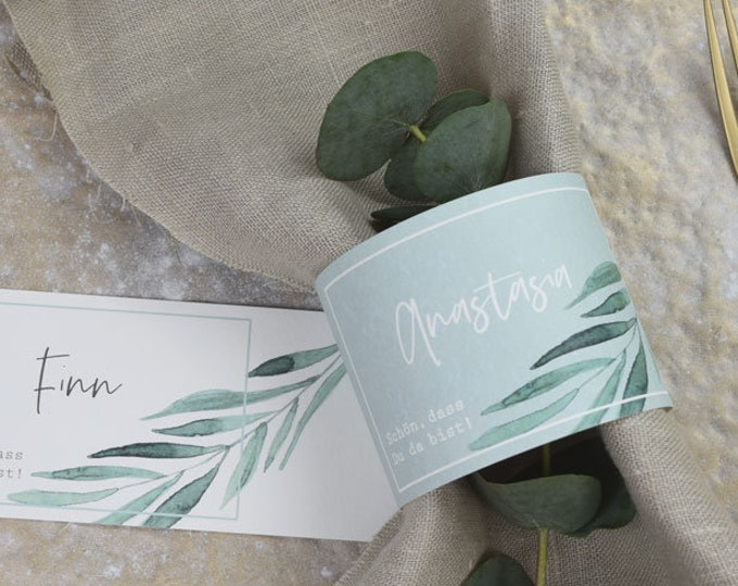 """Napkin Ring """"Green & Gold"""" Place Card, Wedding Place Card, Birthday"""