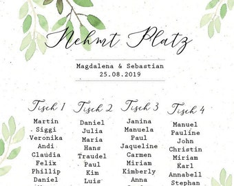 "Table plan ""watercolor love"" for the wedding, seating plan, table sign, wedding party, individually printed, personalized"
