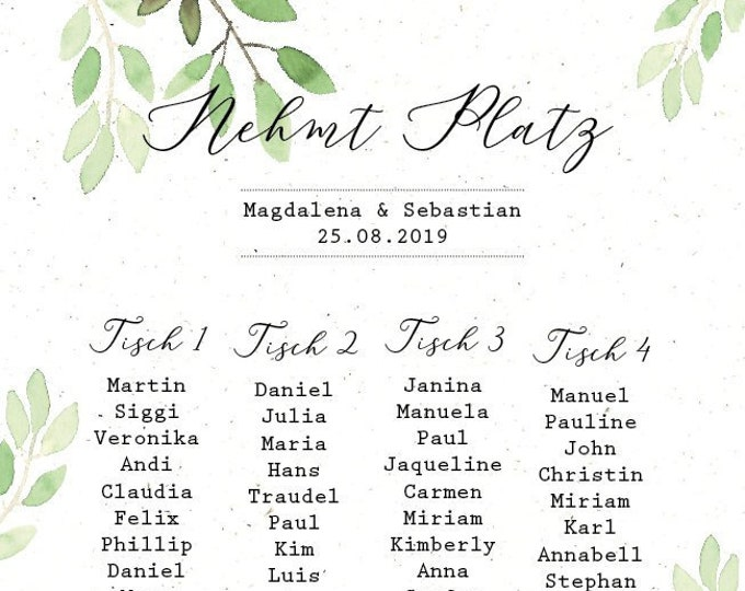 "Table plan ""watercolor love"" for the wedding, seating plan, table wiser, wedding feast, individually printed, personalized"