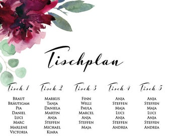 "Table plan ""Sage &Weinrot"" for the wedding"