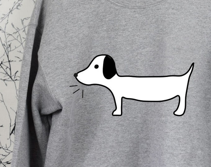 "Damen Sweatshirt ""Dackel Willi"" Crewneck Shirt, Damen Pullover bedruckt, Dackelliebe"
