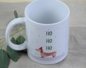 "Cup, ""dachshund in winter,"" dog"