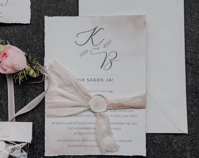 "Wedding invitation ""tender love"" A5 including envelope, wedding card, invitation card in watercolor design"