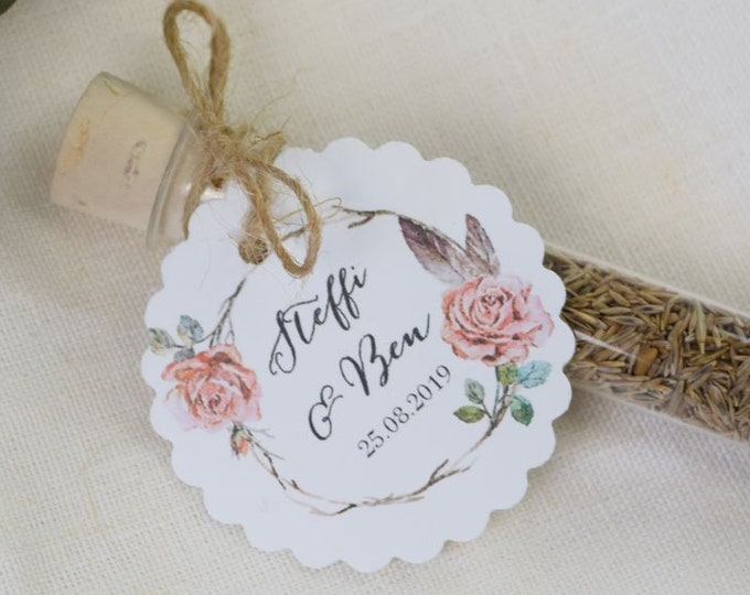 "Guest Gift wedding ""Rosy"" Flower Meadow, Wedding Guest gift, individually printed Pendant, name Card"
