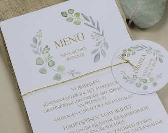 "Menu card ""Sage Love"" for the wedding, birthday"