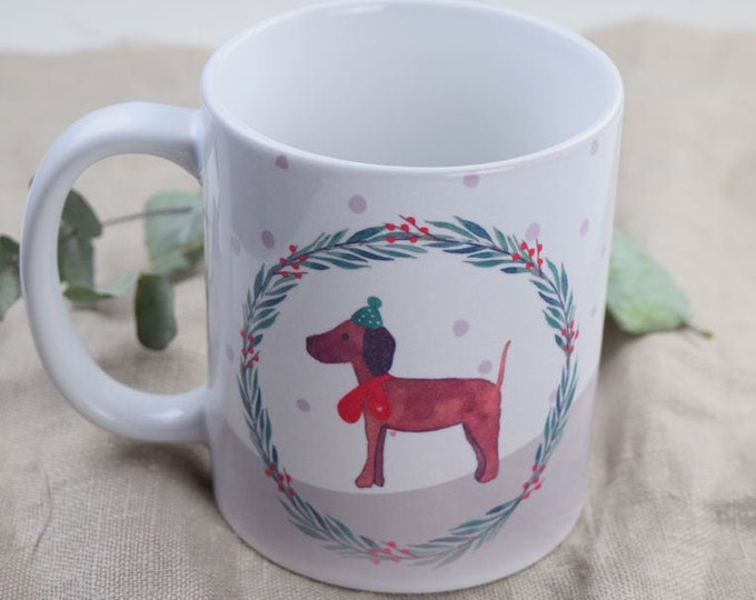 "Cup, ""Dog in Winter"", Dog Motif, Vizsla, Mug, Christmas Cup"