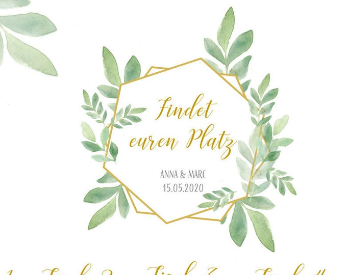 "Table plan ""Boho-Gold"" for the wedding, seating plan, place sign"
