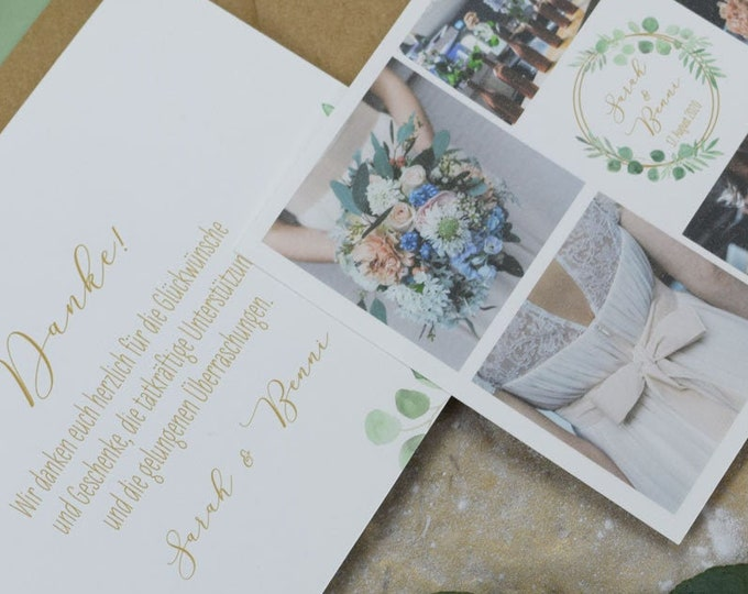 "Thank you card ""Ring Love"" for wedding, folding card for wedding, custom printed card incl envelope, thanksgiving wedding"