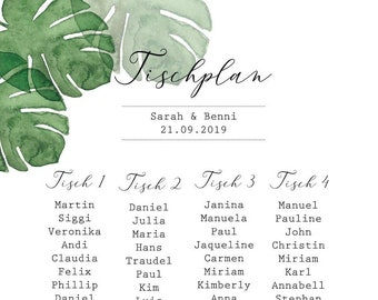 "Table plan ""Monstera Love"" for the wedding, signpost wedding, seating plan"