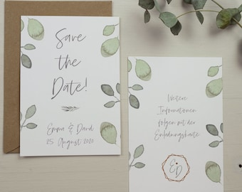 "Save the Date Card Wedding ""Greenery Love"", Wedding Announcement, Wedding Card, Save the Date Card vintage"