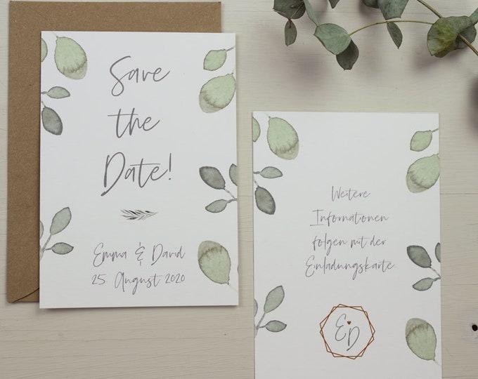 "Save the Date Card Wedding ""Greenery Love"", Wedding Announcement, Wedding Card, Save the Date Card vintage"