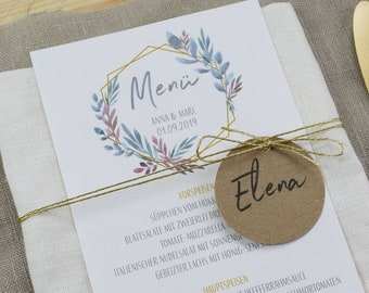 Menu menu wedding motif-Boho Liebe-