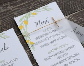 "Menu Card Wedding Motif -Citron"", Menu, Menu Plan"