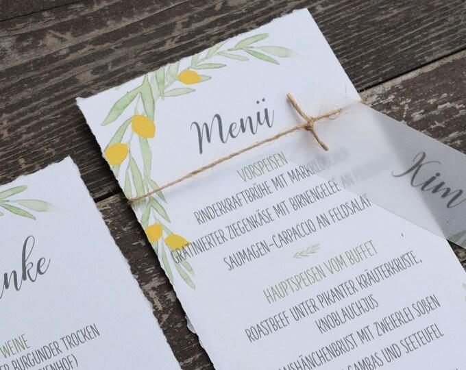 "Menu Card Wedding Motif -Citron"", Menu, Menu Plan"
