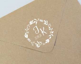 Wedding Stamp, Family Stamp, Custom Stamp, Wooden Stamp, Inital Temple