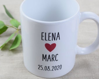 """50xcup, guest gift for the newlyweds """"heart,"""" wedding, gift, personalized cup"""