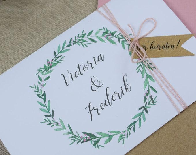 "Wedding invitation ""Rosé Love"" invitation card to the wedding, individual wedding card, summer wedding"