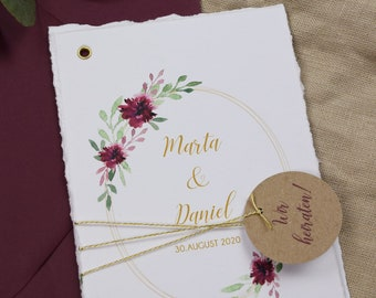 "Wedding Invitation ""Burgundy"" Wedding Invitation, Boho Style, Ripped Edges, Fan Card"