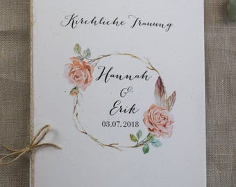 "Church booklet cover ""Rosy"" vintage church sheet, wedding booklet"