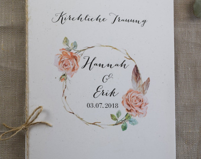 "Church booklet ""Rosy"" vintage church sheet, wedding booklet"