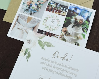 "Thank you card ""watercolor flower"" for wedding, folding card for wedding, custom printed card incl envelope, thanksgiving wedding"