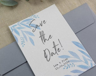 "Save the Date Card Wedding ""Blue Love"""
