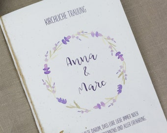 "Church booklet wedding ""lavender-love,"" dream book, church wedding, church leaf wedding"