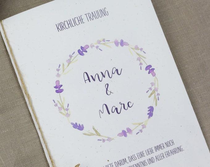 "Church booklet wedding ""lavender-love,"" dream book, church wedding, church leaf wedding"