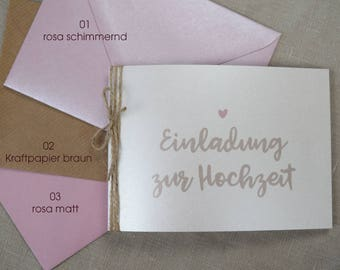 Wedding invitation incl. envelope, wedding card, personalized invitation card, custom card print