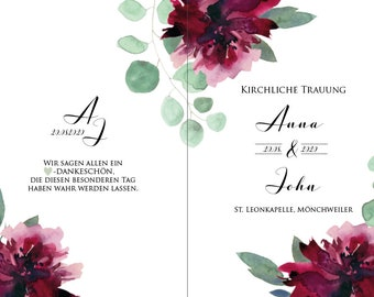 "Church booklet cover wedding ""Sage&Weinrot"", wedding booklet, church wedding ceremony, church leaf wedding"